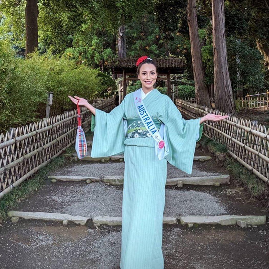 candidatas a miss international 2019 usando tradicional traje tipico japones. O5oeu98b