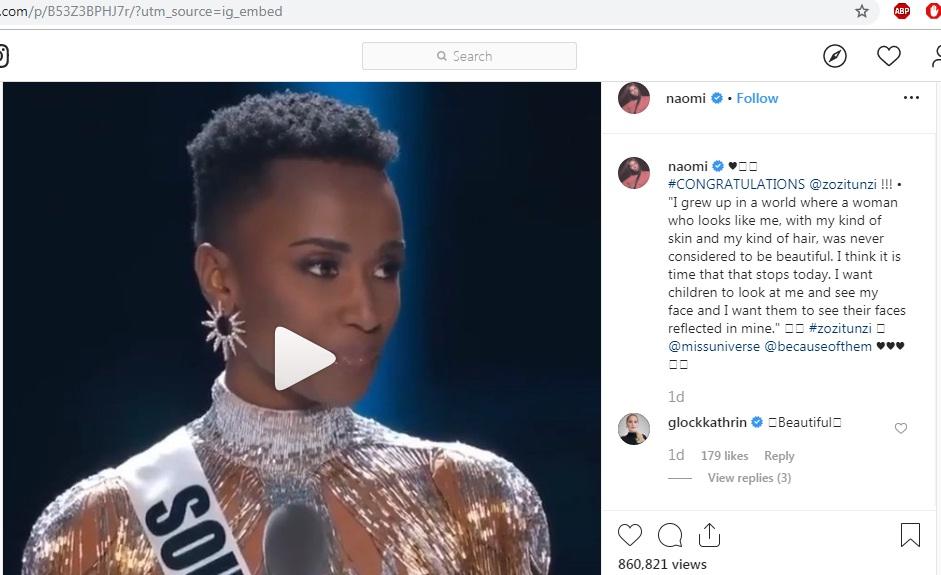supermodels naomi campbell & tyra banks felicitando zozibini tunzi por vencer miss universe 2019. P93c2g2v