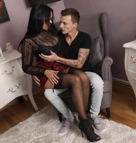 Katrina Moreno - Lad cums on kinky MILF's big tits (SD)