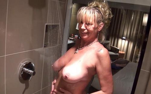 Veronica - Busty cougar fucked in the shower BTS (HD)
